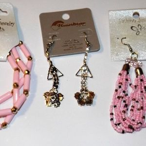 Jewelry - Soft Pink Beaded Earrings and Bracelet
